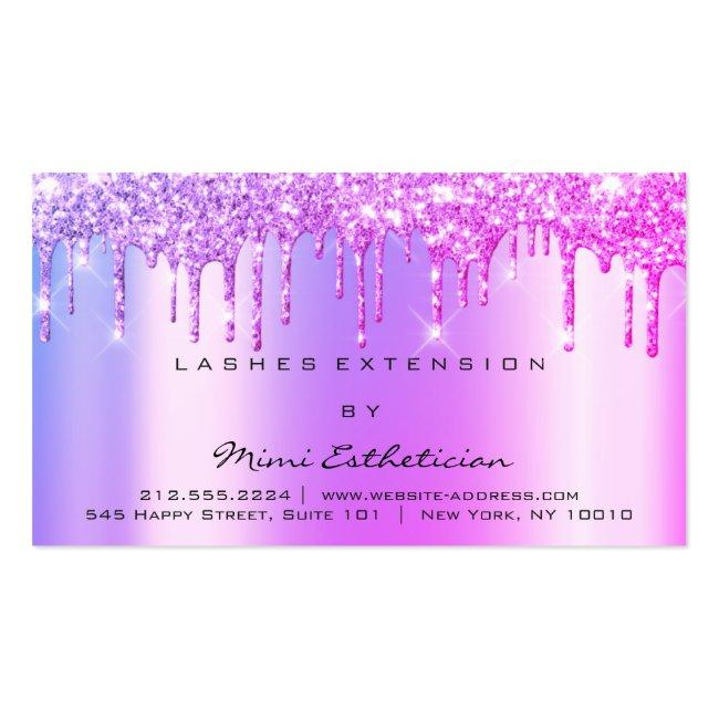 Aftercare Instructions Lashes Pink Drips Spark Business Card