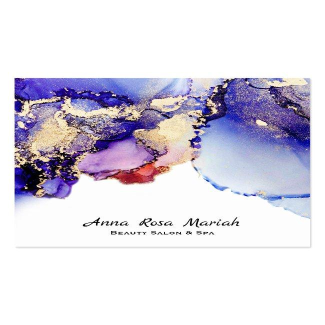 *~*  Artsy Abstract Lavender Gold Gilded Blue Bold Square Business Card