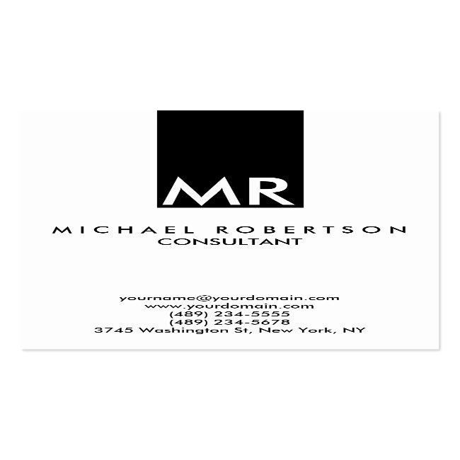 Attractive Monogram Black White Clear Business Card