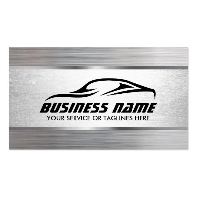 Auto Detailing Modern Metal Texture Automotive Business Card