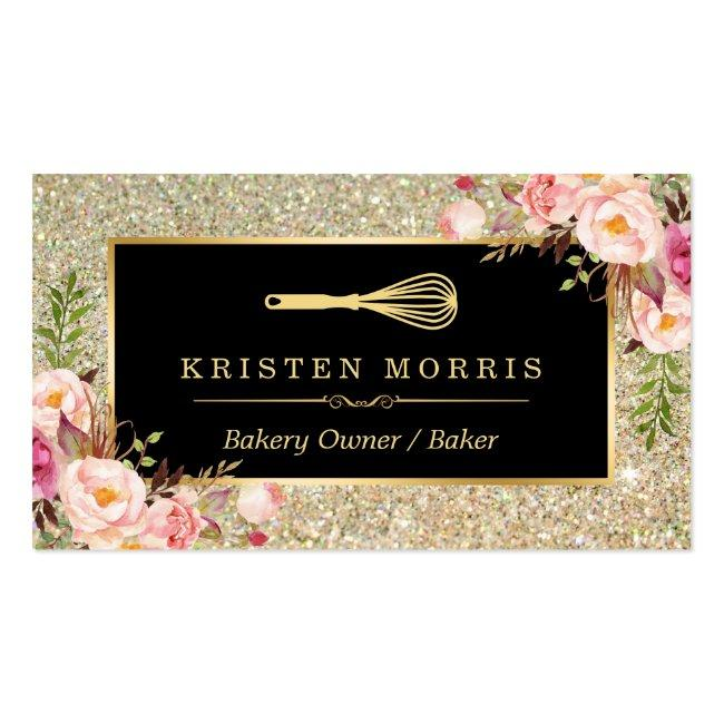 Bakery Chef Whisk Logo   Floral Gold Glitter Business Card