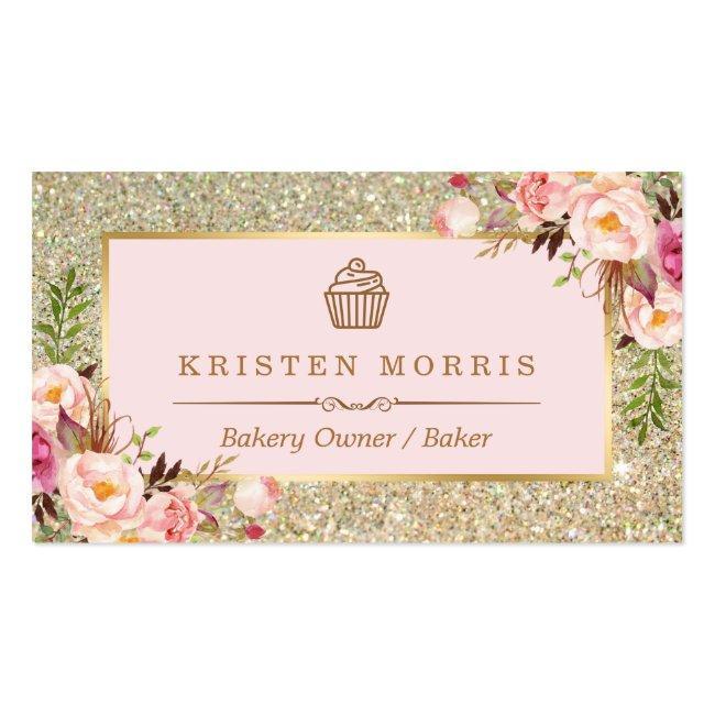 Bakery Cupcake Logo   Floral Pink Gold Glitter Business Card