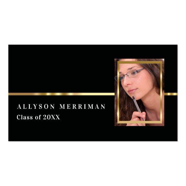 Black | Gold Graduation Photo Insert Name Cards