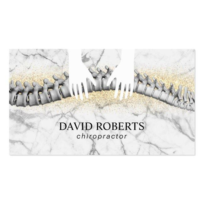 Chiropractor Chiropractic Hands & Spine Marble Business Card