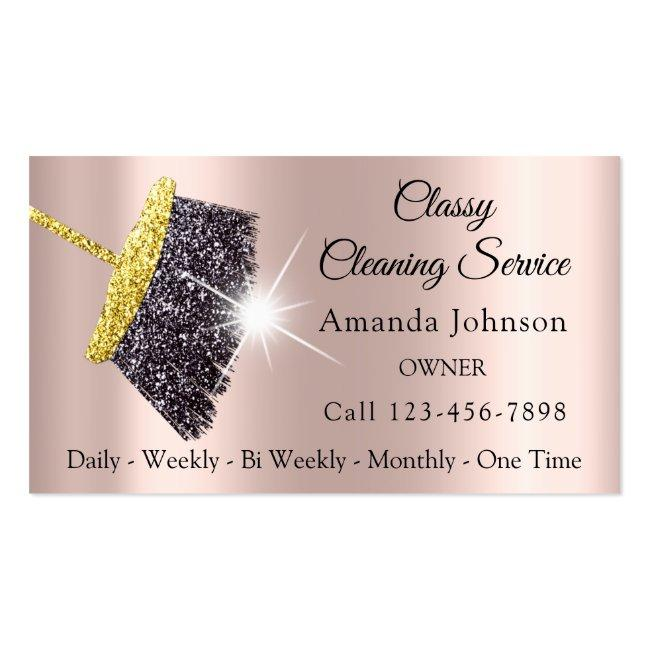 Classy Cleaning Service Maid Gold Silver Rose Business Card