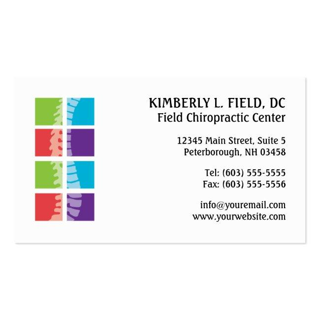 Color Blocks Spine Chiropractic Business Cards