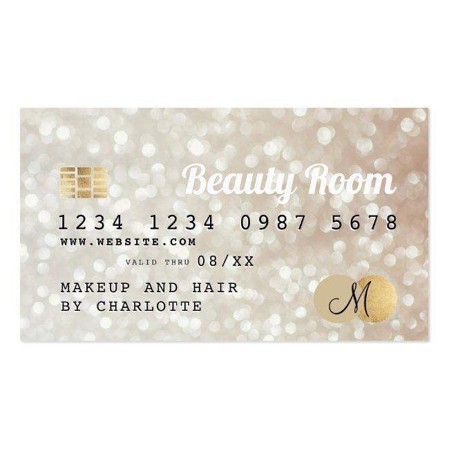 Credit Card Gold Bokeh Beauty Monogram