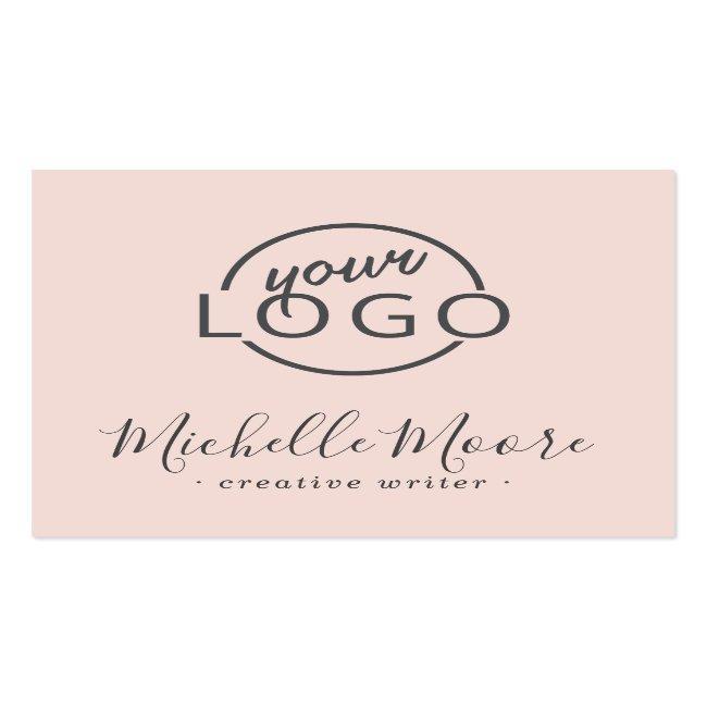 Custom Logo Modern Feminine Minimalist Blush Pink Square Business Card