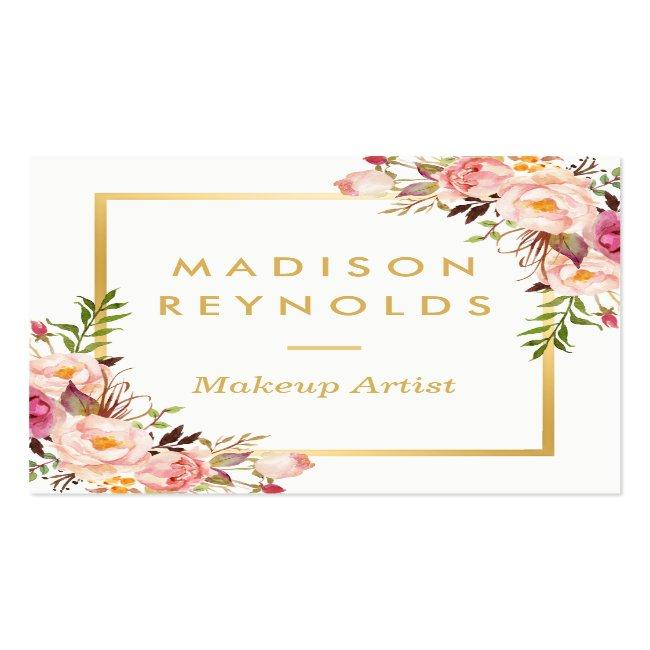 Elegant Chic Gold Frame Girly Pink Floral Personal Square Business Card