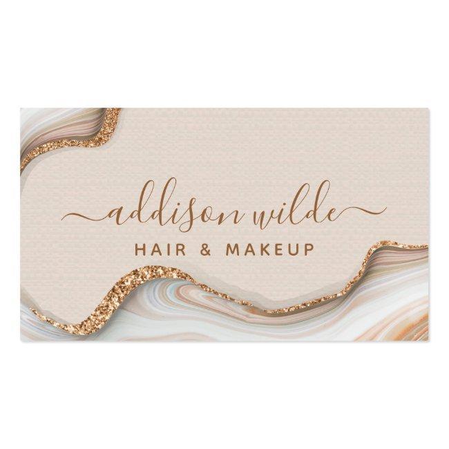 Elegant Gold Glitter Marble Agate Modern Chic Business Card