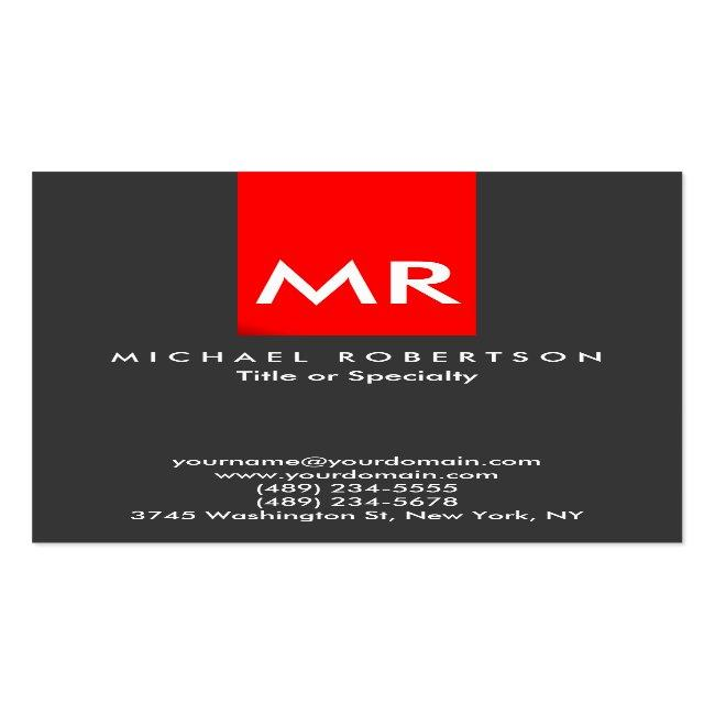 Exclusive Monogram Grey Red Stripe Clean Business Card