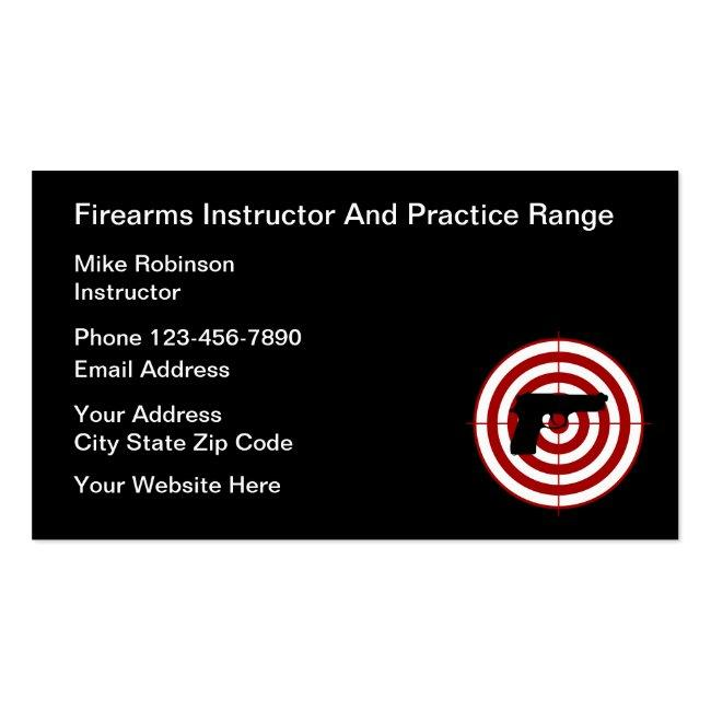 Firearms Instructor And Self Defense Business Card