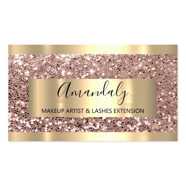 Glitter Rose Gold Frame Event Planner Luminous Business Card