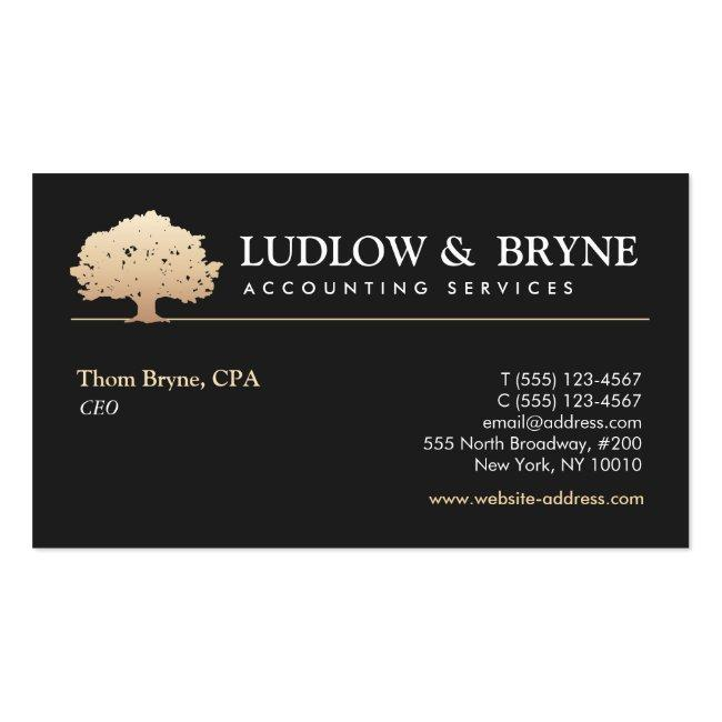 Gold Tree Logo Classic Professional Black Business Card