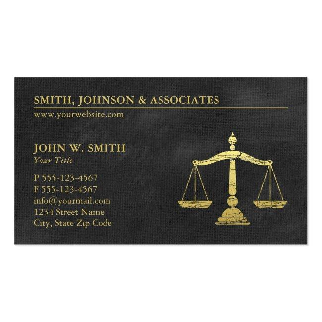 Law Firm Scales Of Justice Gold (effect) Lawyers Business Card