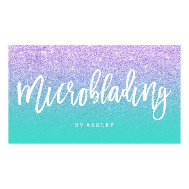 Microblading Typography Faux Lavender Glitter Business Card