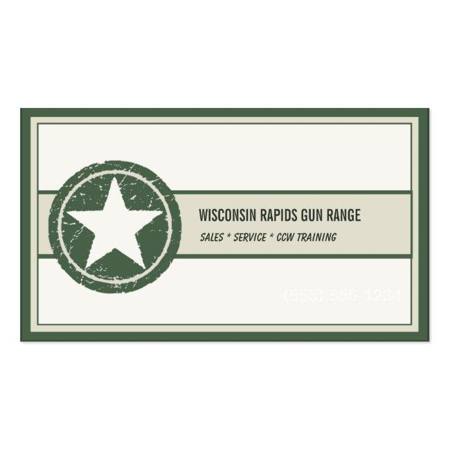 Military Style Patriotic Star Grunge Logo Business Card
