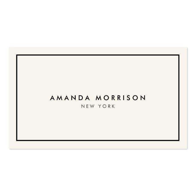 Minimalist Luxury Boutique Ivory/black Business Card