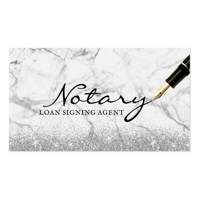 Mobile Notary Loan Signing Agent Modern Marble Business Card
