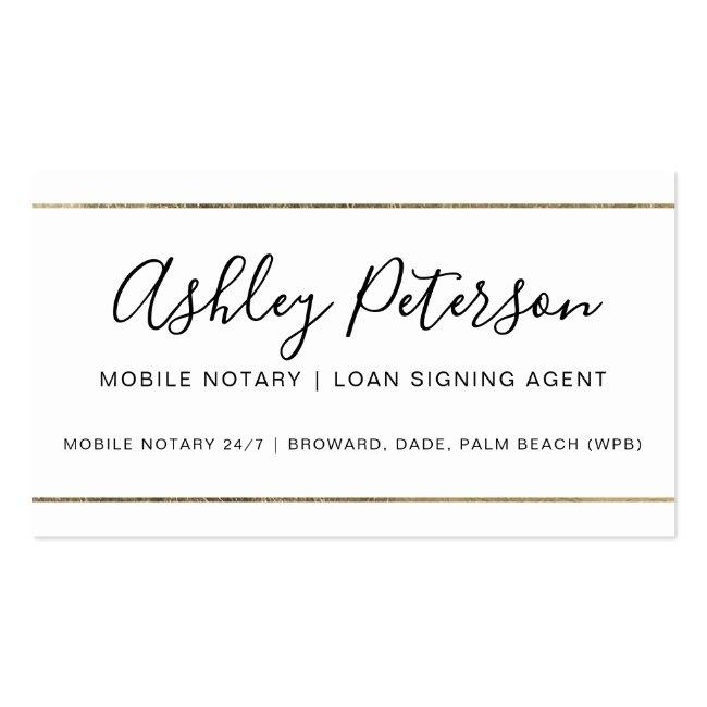Mobile Notary Public Typography Gold Stripe Business Card