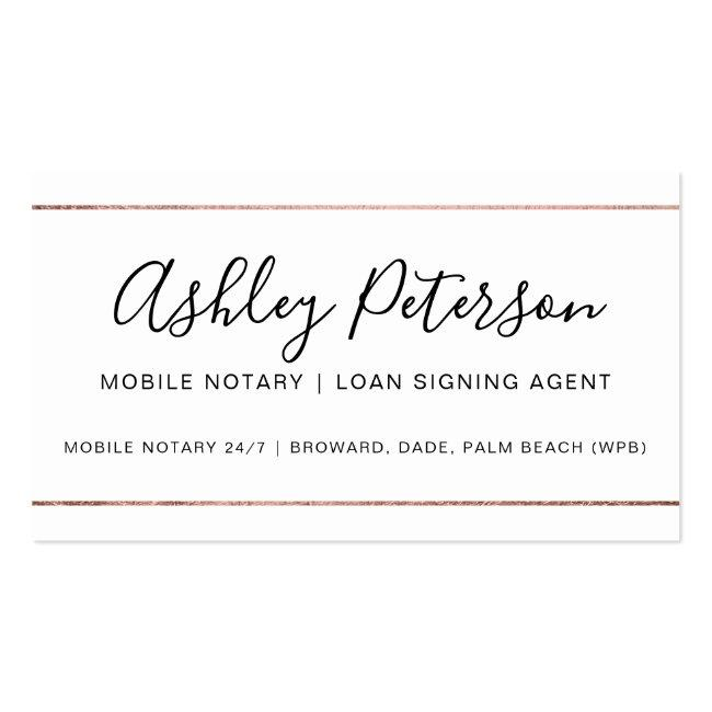 Mobile Notary Public Typography Rose Gold Stripe Business Card