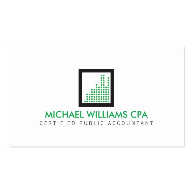 Modern Accountant, Financial Logo In Green Business Card