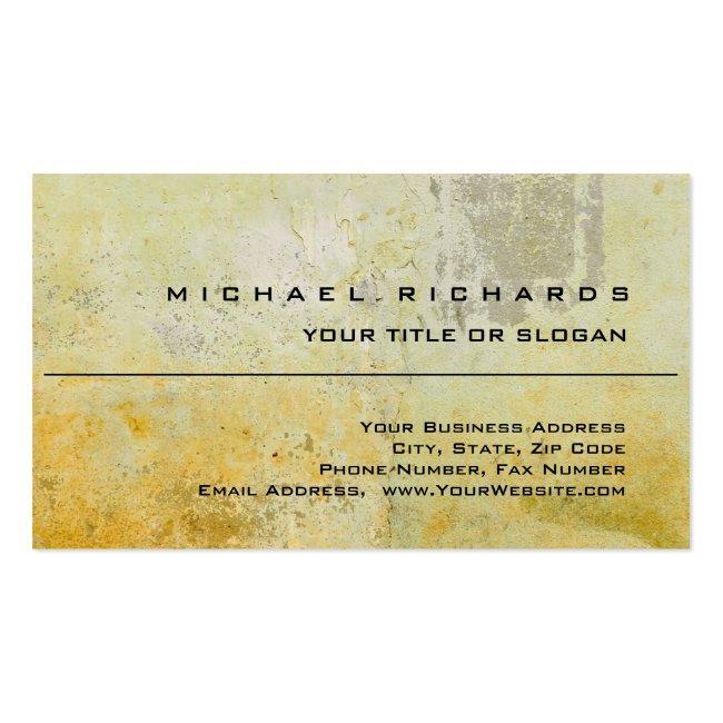 Modern Elegant Unique Plain Yellow Wall Mortar Business Card