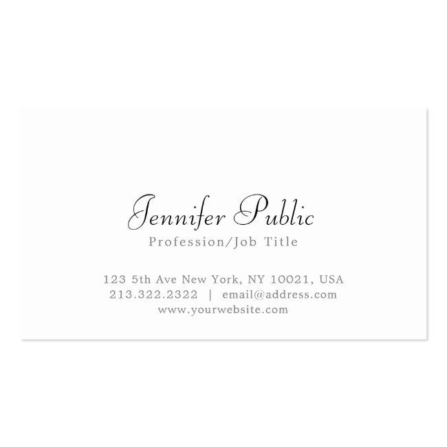 Modern Elegant White Simple Professional Plain Business Card