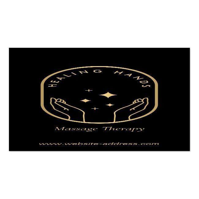 Modern Healing Hands Massage, Wellness Gold Logo Business Card