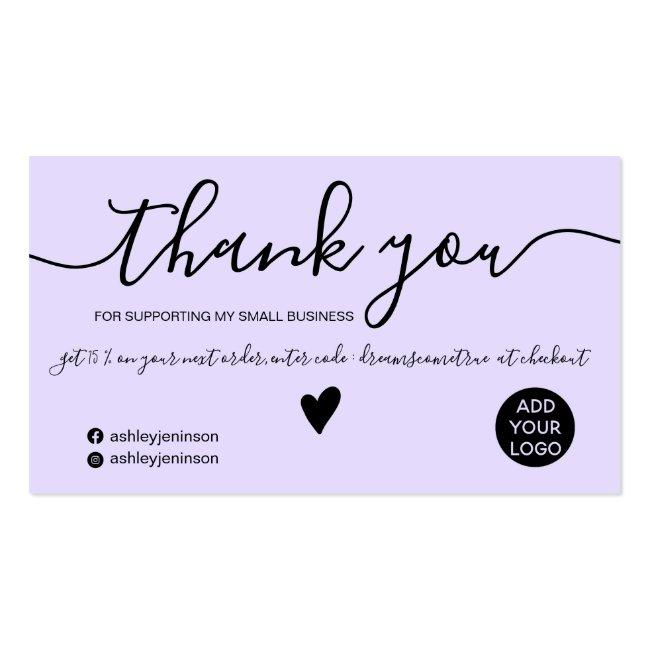 Modern Minimalist Black And Purple Order Thank You Business Card