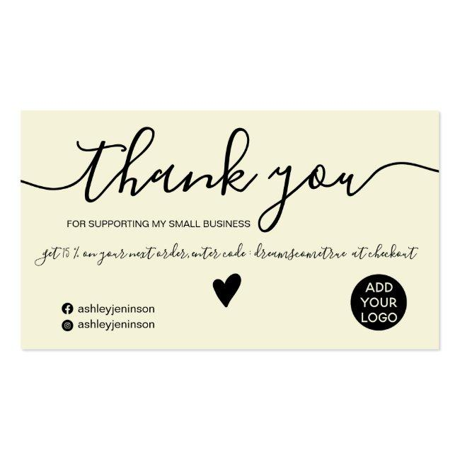 Modern Minimalist Black And Yellow Order Thank You Business Card