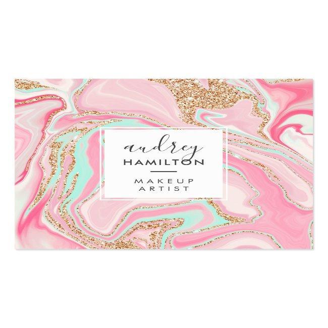 Modern Pink Marble Rose Gold Elegant Makeup Artist Square Business Card