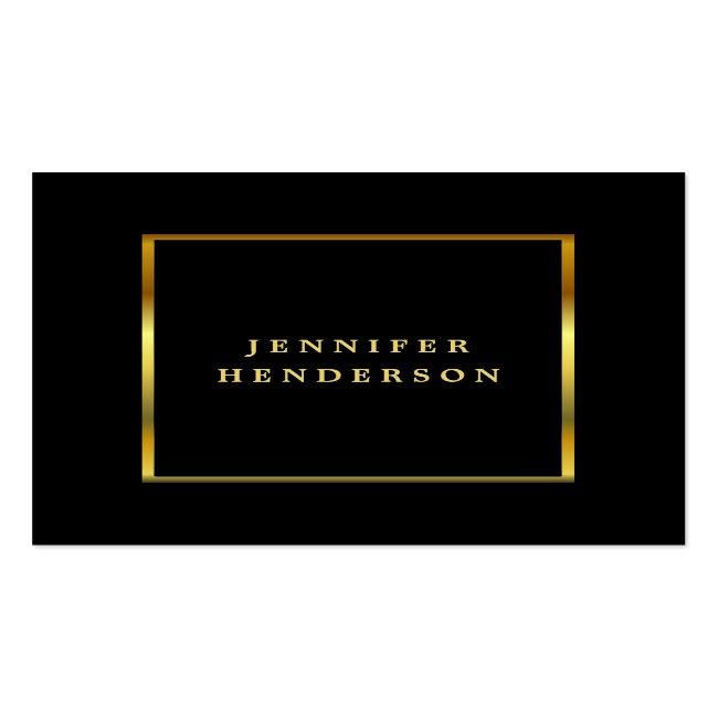 Modern Stylish Black And Gold Professional Square Business Card