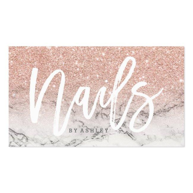 Nails Typography Rose Gold Glitter Marble Business Card