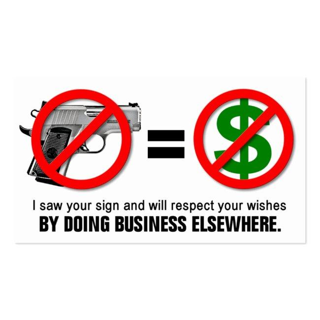 """""""no Guns No Money"""" Missouri Ccw Business Card (1c)"""