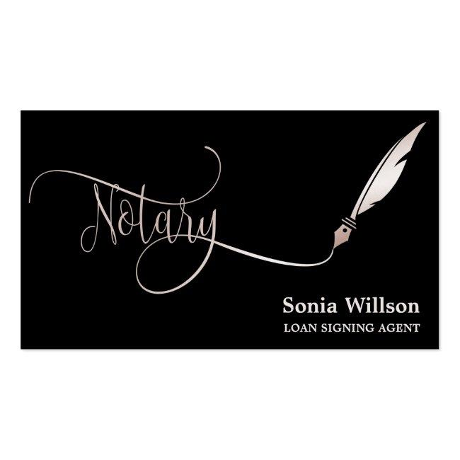 Notary Elegant Rose Gold Typography Feather Pen Business Card