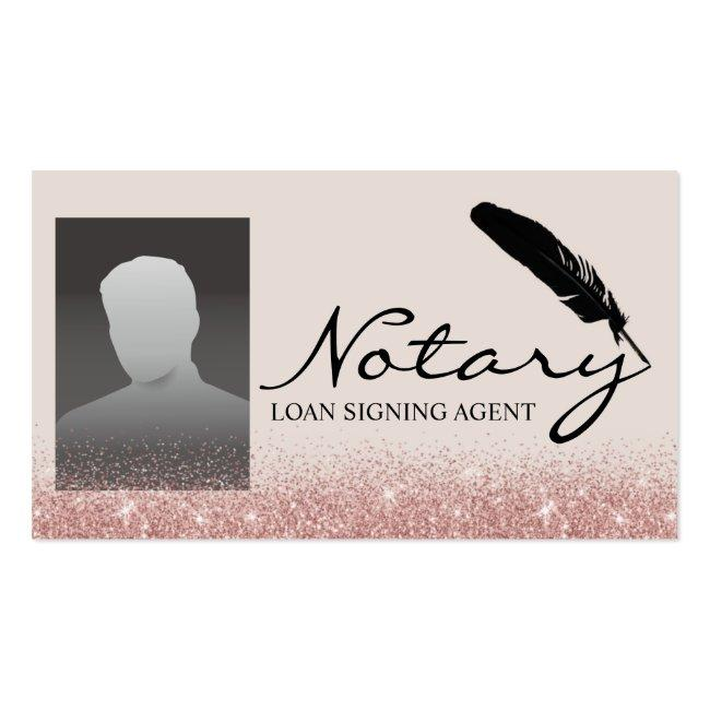 Notary Loan Signing Agent Rose Gold Glitter Photo Business Card