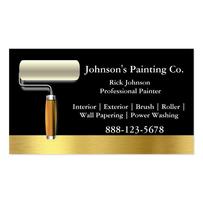 Painter Black Gold Paint Roller Magnetic Business Card