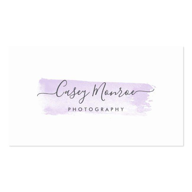 Pastel Lavender & Gray Watercolor Signature Script Business Card