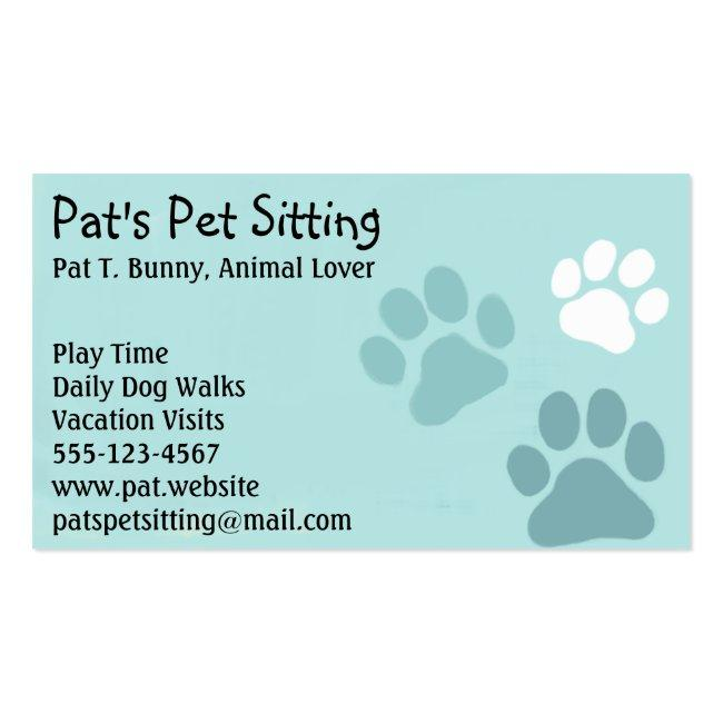 Pet Paw Prints On Teal Cat And Dog Animal Services Magnetic Business Card