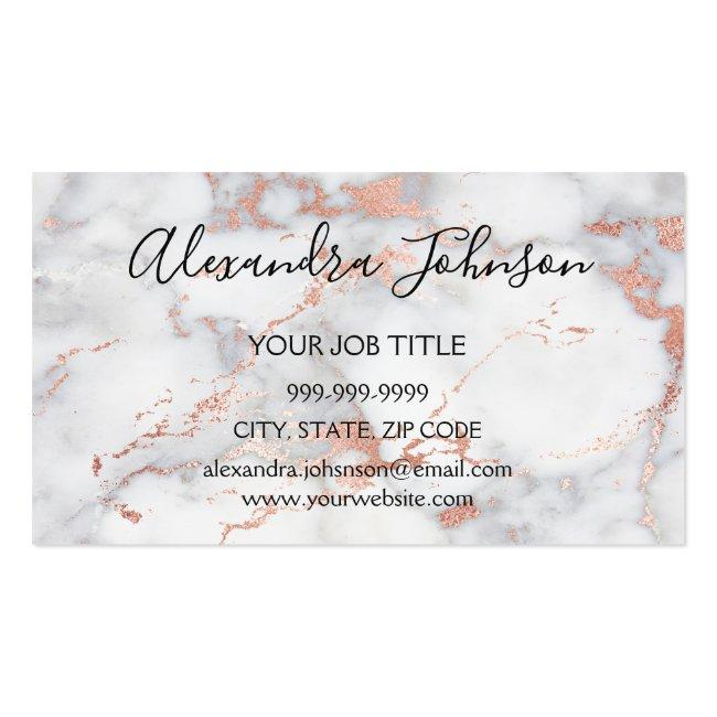 Rose Gold And White Marble Hair And Makeup Business Card Magnet