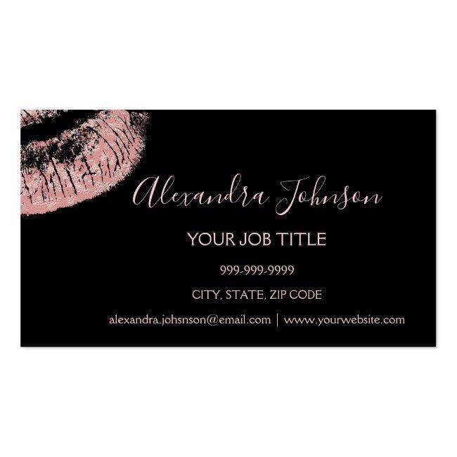 Rose Gold Glitter And Sparkle Lipstick Makeup Business Card Magnet
