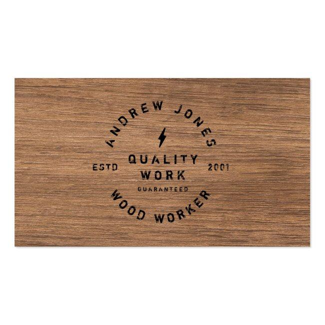 Rustic Vintage Typography Dark Wood Modern Minimal Business Card