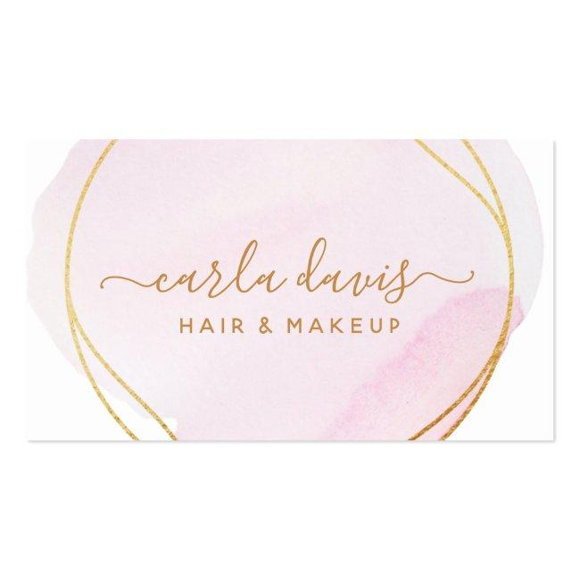 Signature Script Blush Pink Watercolor Gold Circle Business Card