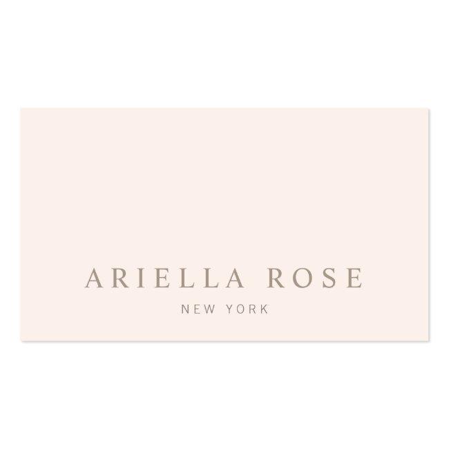 Simple Elegant Blush Pink Professional Minimalist Business Card