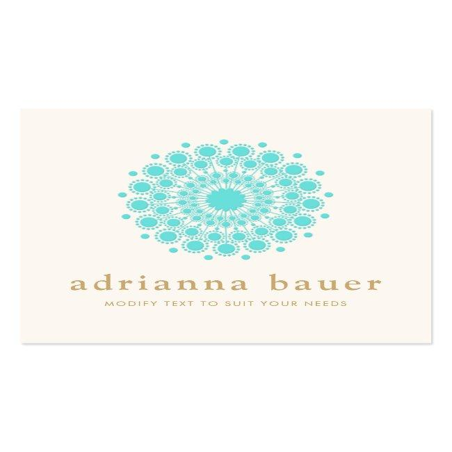 Simple Elegant Turquoise Blue Mandala Square Business Card