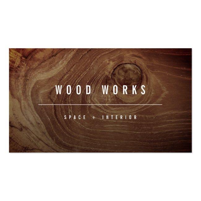 Teak Wood Grain Photo Minimalist Interior Design Business Card