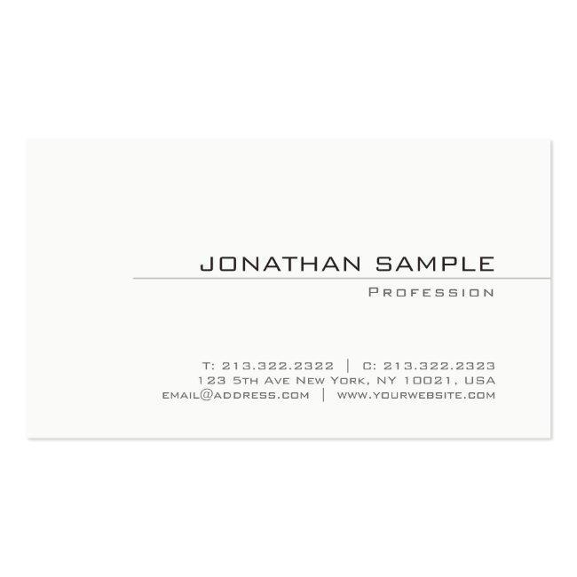 Trendy Creative Minimalist Plain Modern Design Business Card