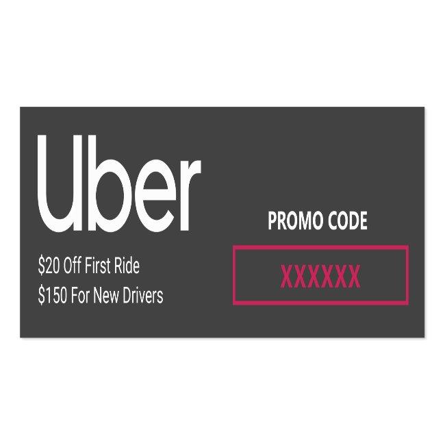 Uber Driver Promo Code Referral Mini Business Card