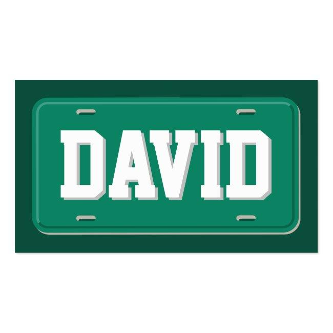 Uber Lyft Driver Green And White License Plate Business Card